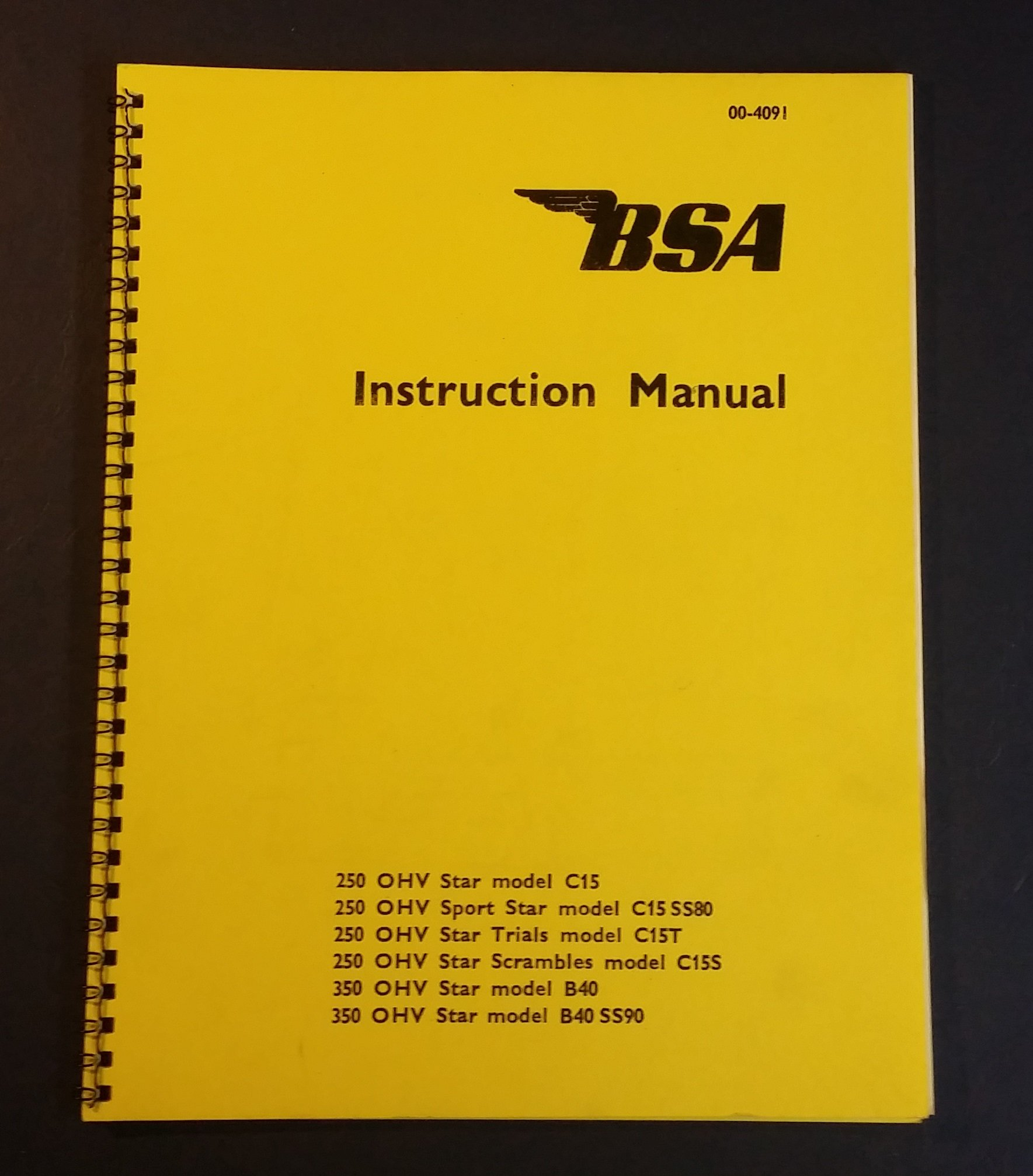 00-4091. $20.00. In stock. Instruction Manual, BSA ...
