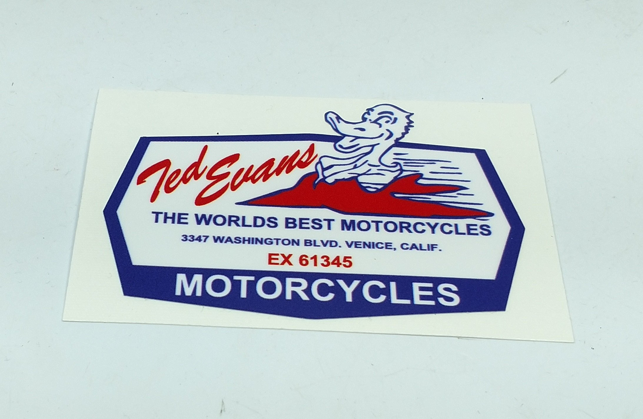 Triumph Ted Evans Motorcycles Decal 3 1 4 X 2 3 16